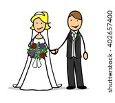 happy cartoon bridal pair with... | Shutterstock . vector #402657400