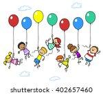 many happy children flying up... | Shutterstock . vector #402657460