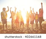 teenagers friends beach party... | Shutterstock . vector #402661168