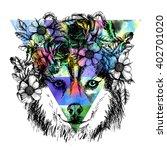 husky hippie and flowers. dog... | Shutterstock . vector #402701020