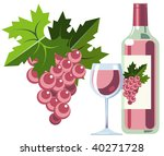 pink wine with grapes  bottle... | Shutterstock . vector #40271728