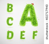 green leaves alphabet with... | Shutterstock .eps vector #402717940