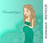 beautiful pregnant girl in... | Shutterstock .eps vector #402742120
