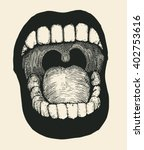 screaming mouth. drawing style. ... | Shutterstock .eps vector #402753616