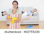 smiling woman wearing rubber... | Shutterstock . vector #402755230