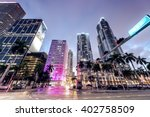 Stock photo streets and buildings of downtown miami at night 402758509