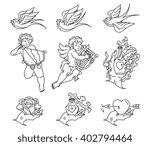 lovers tattoo black on white | Shutterstock .eps vector #402794464