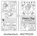 lovers greeting cards black on... | Shutterstock .eps vector #402795220
