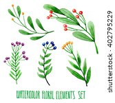 set of hand drawn floral...   Shutterstock . vector #402795229