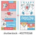 lovers greeting cards colored | Shutterstock .eps vector #402795268