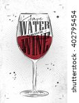 poster wine glass lettering...