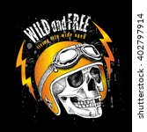 skull in a motorcyclist helmet. ... | Shutterstock .eps vector #402797914