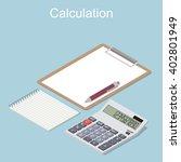 calculator in perspective. flat ... | Shutterstock .eps vector #402801949