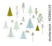 coniferous trees set. geometric ... | Shutterstock .eps vector #402806119