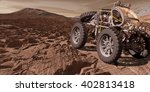 3D Illustration - Martian ATV negotiates uneven rocky terrain - stock photo