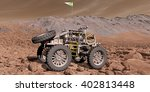 3D Illustration - Roving ATV picks its way over Martian boulder field	 - stock photo