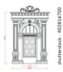 Architectural entrance and door vector line work black paint with dimension