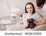 nice girl resting with her... | Shutterstock . vector #402819304