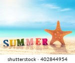 summer beach. letters and... | Shutterstock . vector #402844954