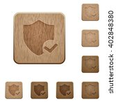 set of carved wooden protection ...