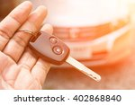 car key in hand and color tone... | Shutterstock . vector #402868840