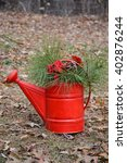Red Watering Can Decoration Re...