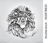 head of lion in the ornament | Shutterstock .eps vector #402878833