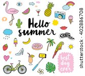 hand drawn summer doodles | Shutterstock .eps vector #402886708