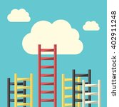 success ladder leading to cloud ... | Shutterstock .eps vector #402911248