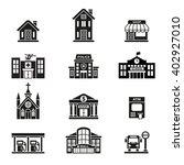 buildings vector icon set. | Shutterstock .eps vector #402927010