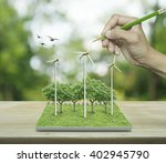 hand with pencil drawing wind... | Shutterstock . vector #402945790