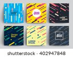 Set of Trendy Cards with Flat Dynamic Design. Applicable for Covers, Placards, Posters, Flyers and Banner Designs. | Shutterstock vector #402947848