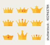 Set Of Gold Crown Icons....