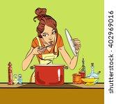 woman preparing food in the...   Shutterstock .eps vector #402969016