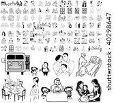 family set of black sketch.... | Shutterstock .eps vector #40298647