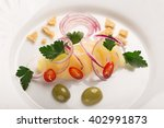 potato salad with red onion ...   Shutterstock . vector #402991873