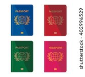 different colors passports.... | Shutterstock .eps vector #402996529