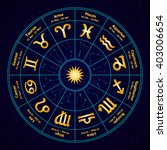 circle with signs of zodiac.... | Shutterstock .eps vector #403006654