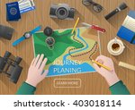 young couple planning honeymoon ... | Shutterstock .eps vector #403018114