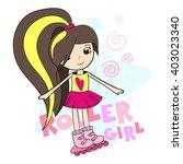 roller girl in pink roller... | Shutterstock .eps vector #403023340