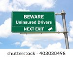 green overhead road sign with a ... | Shutterstock . vector #403030498