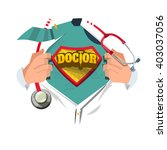 doctor with stethoscope open... | Shutterstock .eps vector #403037056