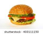big hamburger on white... | Shutterstock . vector #403111150