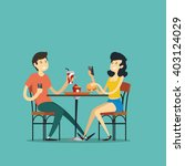 boy and girl in a street cafe.... | Shutterstock .eps vector #403124029
