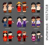 set of asian pairs dressed in... | Shutterstock .eps vector #403171318