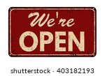 we're open on red vintage rusty ...   Shutterstock .eps vector #403182193