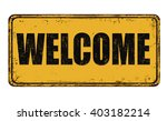 welcome on yellow vintage rusty ... | Shutterstock .eps vector #403182214