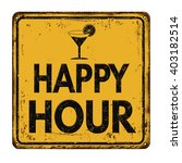 happy hour on yellow vintage... | Shutterstock .eps vector #403182514