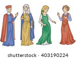 medieval manuscript ladies | Shutterstock .eps vector #403190224