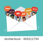 group of happy smiling young... | Shutterstock .eps vector #403211734